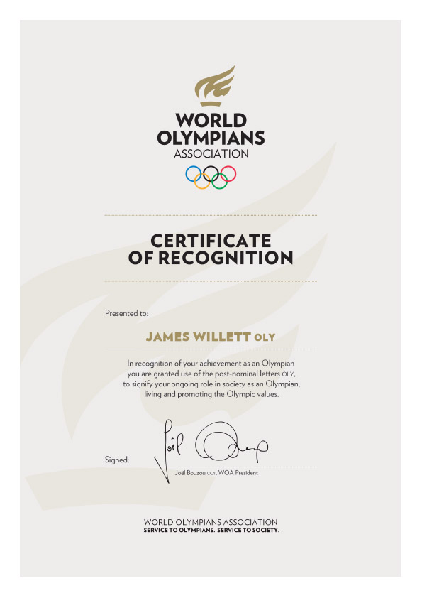 James Willett Olympian Certificate