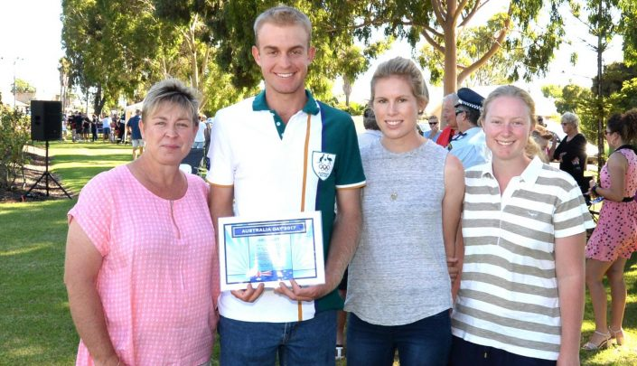 James Willett, with his mum Dionne, girlfriend Amy Barnes and sister Marnie Willett.